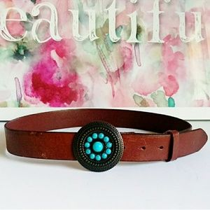TRE VERO   Turquoise Buckle Leather Belt Si